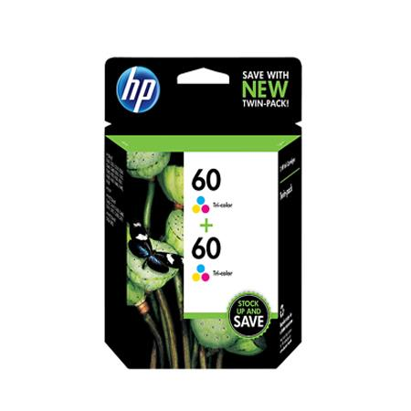 HP 60 Tri-Color Original Ink Cartridge (CZ072FN) Twin Pack