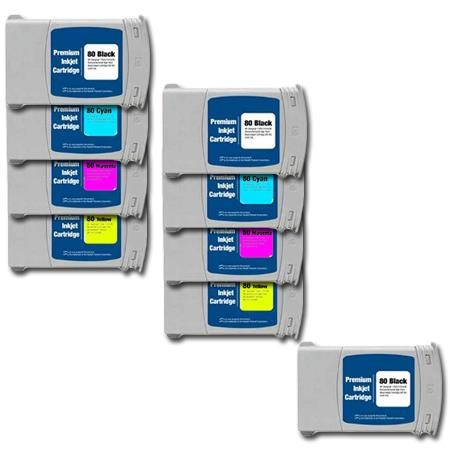 80BK/C/M/Y 2 Full Sets + 1 EXTRA Black Remanufactured Inks