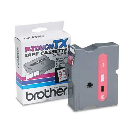 Brother TX2521 Original P-Touch Label Tape - 1 x 50 ft (24mm x 15m) Red on White