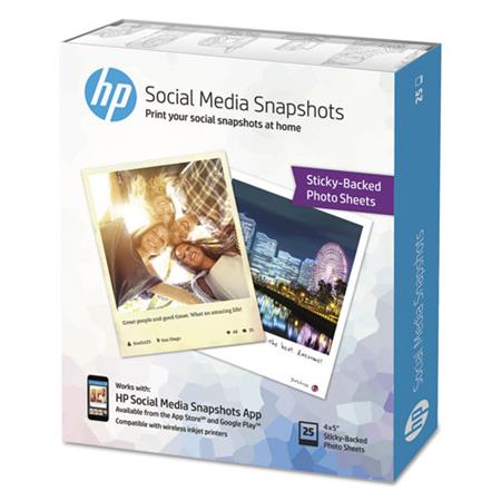 HP Social Media Snapshot Removable Sticky Photo Paper, 4x5in, 11mil, White, 25 Sheets