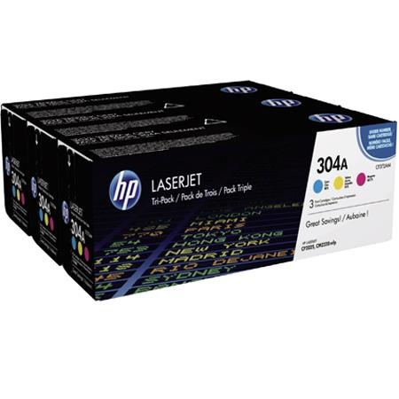 HP 304A (CF340A) Color Original Standard Capacity Toner Cartridge Multipack - 3 Pack