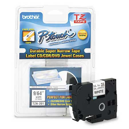 Brother TZeN201 Original P-Touch Label Tape - 1/8 x 26.2 ft (3.5mm x 8m) Black on White