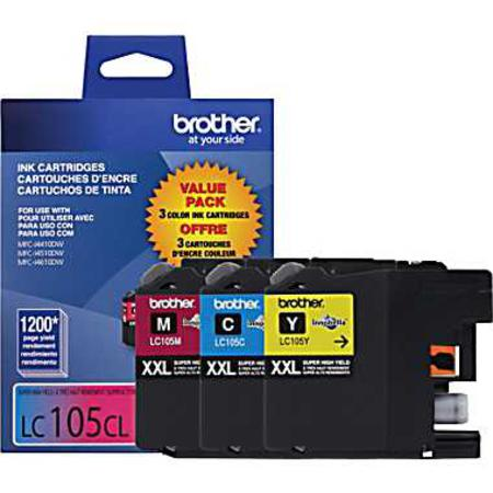 Brother LC105 Cyan/Magenta/Yellow Original Extra High Capacity Ink Cartridges - Triple Pack