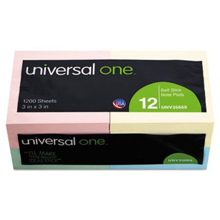 Universal Standard Self-Stick Notes  3 x 3  4 Pastel Colors  12 100-Sheet Pads/Pack