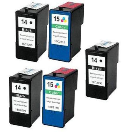 Clickinks No.14/No.15 2 Full Sets + 1 EXTRA Black Remanufactured Ink