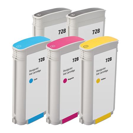Compatible Multipack HP 728 BK/C/M/Y Full Set + 1 EXTRA Black High Capacity Ink Cartridges