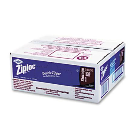 Ziploc Double Zipper Bags  Plastic  1 gal  1.75 mil  Clear w/Write-On Panel  250/Box
