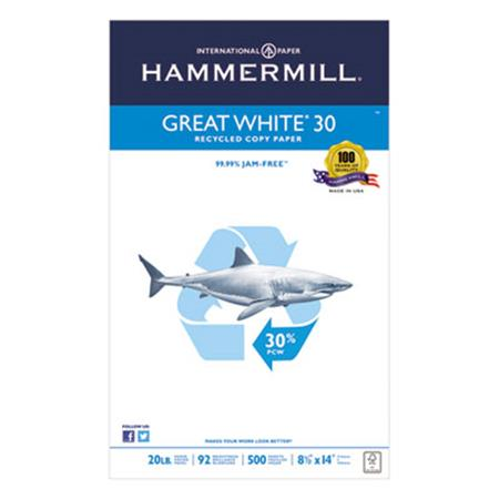 Great White Recycled Copy Paper  92 Brightness  20lb  8-1/2 x 14  500 Shts/Ream