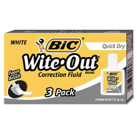 BIC Wite-Out Quick Dry Correction Fluid  20 ml Bottle  White  3/Pack
