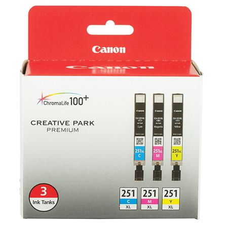 Canon CLI-251XL Color Original High Capacity Ink Cartridge (Cyan/Magenta/Yellow) - 3 Pack