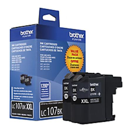 Brother LC107BK Black Original Extra High Capacity Ink Cartridge - Twin Pack