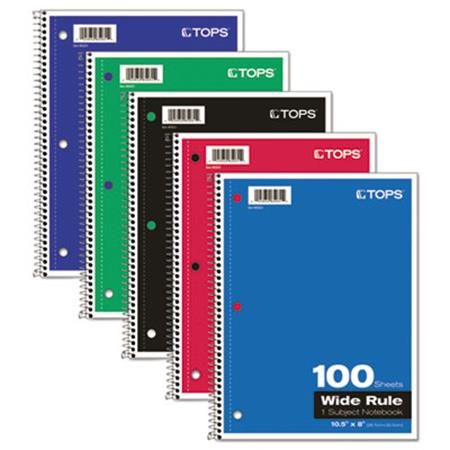 TOPS Wirebound 1-Subject Notebook Wide Rule 10-1/2 x 8 White 100 Sheets/Pad