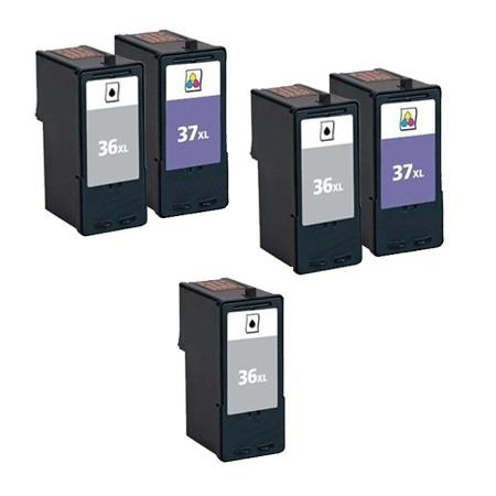 Clickinks No.36XL/No.37XL 2 Full Sets + 1 EXTRA Black Remanufactured Ink
