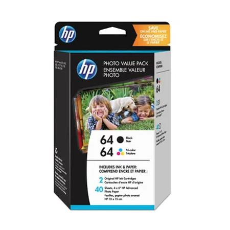 HP 64 (HEWZ2H77AN) 2 pack Black/Tricolor Photo Ink Cartridges Multipack