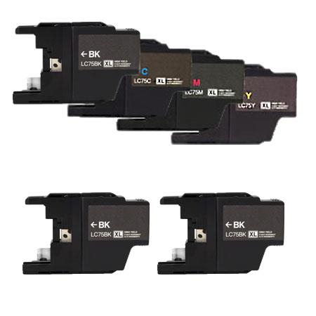 Compatible Multipack Brother LC75BK/C/M/Y Full Set + 2 EXTRA Black Ink Cartridges