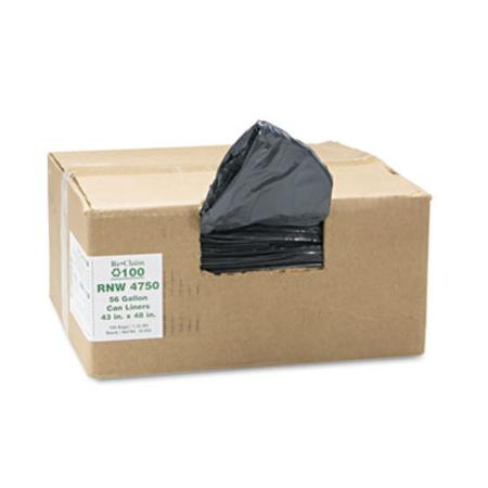 Webster ReClaim Can Liners  56 Gallon  1.25mil  43 x 48  Black  100/Carton