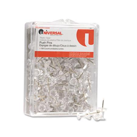Universal Colored Push Pins  Plastic  Clear  3/8InchInch  100/Pack