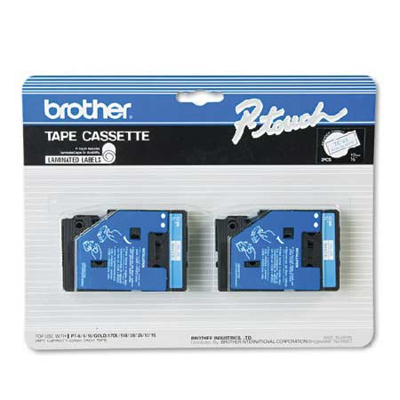 Brother TC22 Original P-Touch Label Tape - 1/2 x 25.2 ft (12mm x 7.7m) Blue on White - 2 Pack