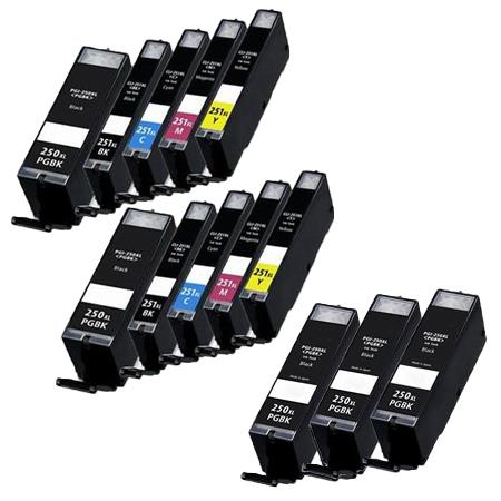 PGI-250XLBK/PGI-251XLBK/C/M/Y 2 Full Sets + 3 EXTRA Black Compatible Inks