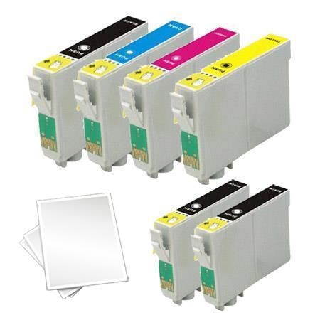 T0601/604 Full set + 2 EXTRA Black Remanufactured Inks and Free Paper