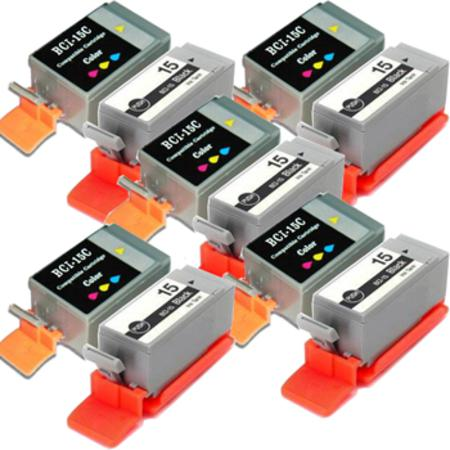 Compatible Multipack Canon BCI-15BK/BCI-16C 5 Full Sets Inkjet Cartridges