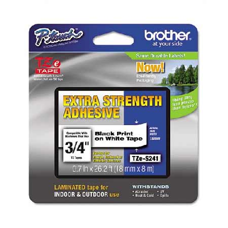 Brother TZeS241 Original P-Touch Label Tape - 3/4 x 26.2 ft (18mm x 8m) Black on White