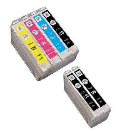 Clickinks 126 Full Set + 2 EXTRA Black Remanufactured Inks
