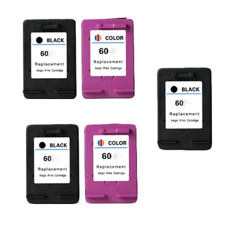 60 2 Full set + 1 EXTRA Black Remanufactured Inks