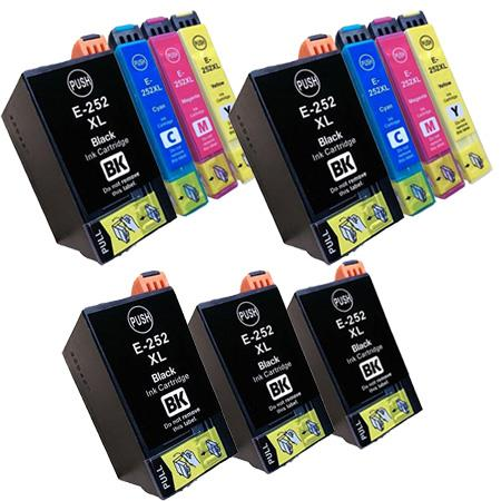 Compatible Multipack Epson 252XL 2 Full Sets + 3  EXTRA Black Ink Cartridges