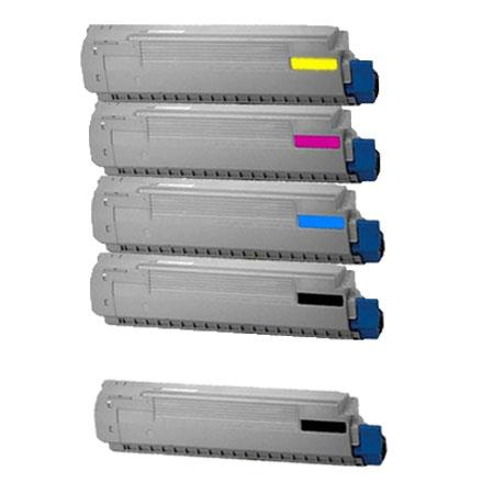 Clickinks 44059109//10/11/12 Full Set + 1 EXTRA Black Remanufactured Toner Cartridge