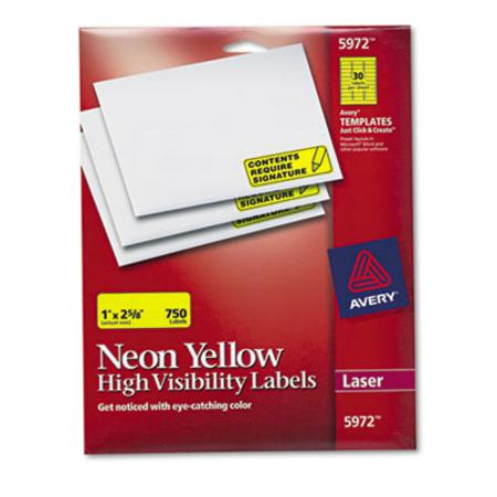 High-Visibility Laser Labels  1 x 2-5/8  Neon Yellow  750/Pack