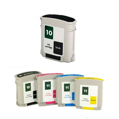 Compatible Multipack HP 10K/11C/M/Y Full Set + 1 EXTRA Black Ink Cartridges