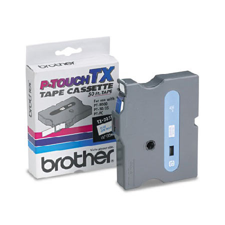 Brother TX2331 Original P-Touch Label Tape - 1/2 x 50 ft (12mm x 15m) Blue on White