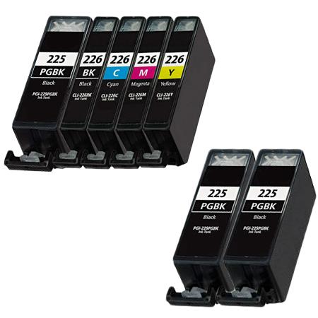 PGI-225BK/CLI-226 BK/C/M/Y Full Set + 2 EXTRA Black Compatible Inks