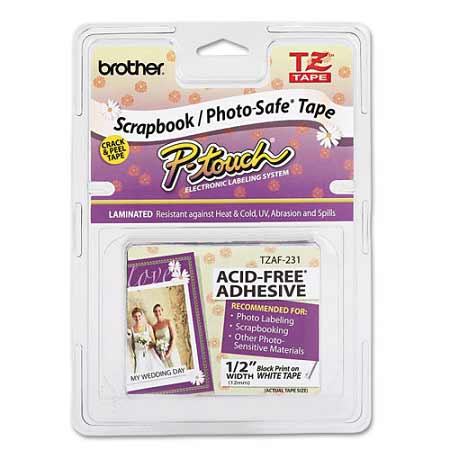 Brother TZEAF231 Original P-Touch Label Tape - 1/2 X 26.2 ft (12mm x 8m) Black on White