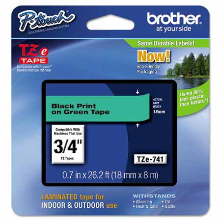 Brother TZe741 Original P-Touch Label Tape - 3/4 x 26.2 ft (18mm x 8m) Black on Green