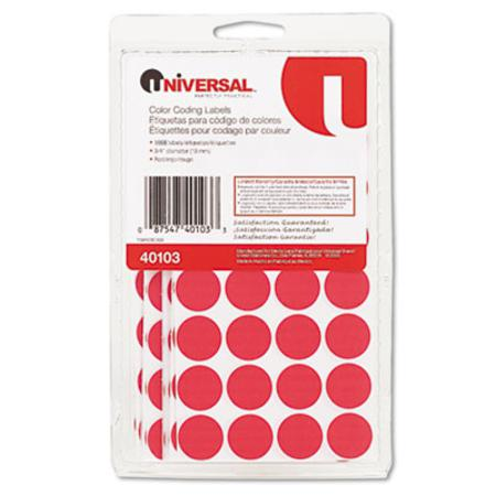 Universal Permanent Self-Adhesive Color-Coding Labels  3/4in dia  Red  1008/Pack