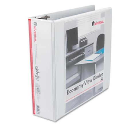 Universal Economy D-Ring Vinyl View Binder 3in Capacity White