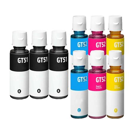 GT51BK/GT52C/M/Y 2 Full Sets + 1 EXTRA Black Remanufactured Ink Bottles