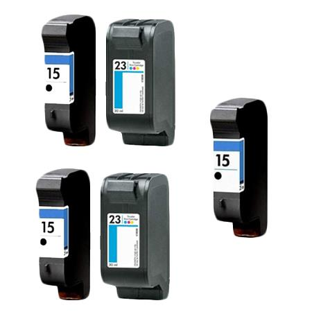 Compatible Multipack HP 15/23 2 Full set + 1 EXTRA Black Ink Cartridges
