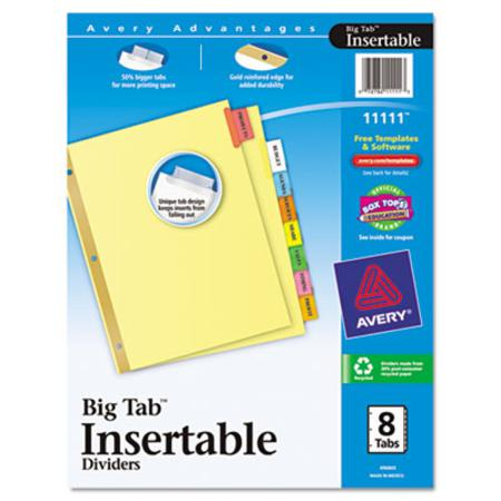 Avery Worksaver Big Tab Reinforced Dividers  Multicolor Tabs  Eight-Tab  Letter  Buff