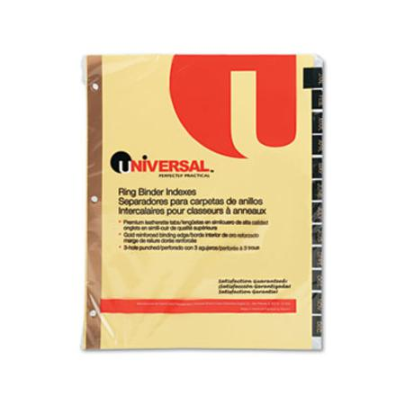Universal Leather-Look Mylar Tab Dividers  12 Month Tabs  Letter  Black/Gold  12/Set