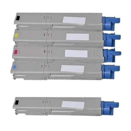 Compatible Multipack Okidata 43459301/02/03/04 Full Set + 1 EXTRA Black Toner Cartridges