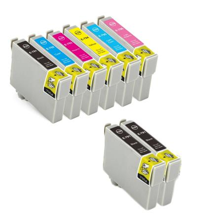 T0781/786 Full Set + 2 EXTRA Black Remanufactured Inks