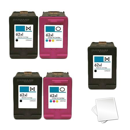 62XL 2 Full Sets + 1 EXTRA Black Remanufactured Inks (Free Paper)