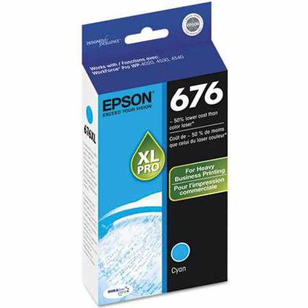 Epson T676XL (T676XL220) High Capacity Original Cyan Ink Cartridge