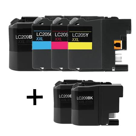 LC209BK/LC205C/M/Y Full Set + 2 EXTRA Black Compatible Inks