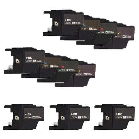 Compatible Multipack Brother LC75BK/C/M/Y 2 Full Sets + 3 EXTRA Black Ink Cartridges