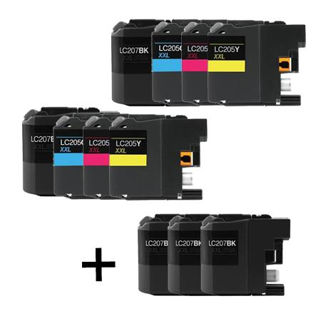 LC207BK/LC205C/M/Y 2 Full Sets + 3 EXTRA Black Compatible Inks