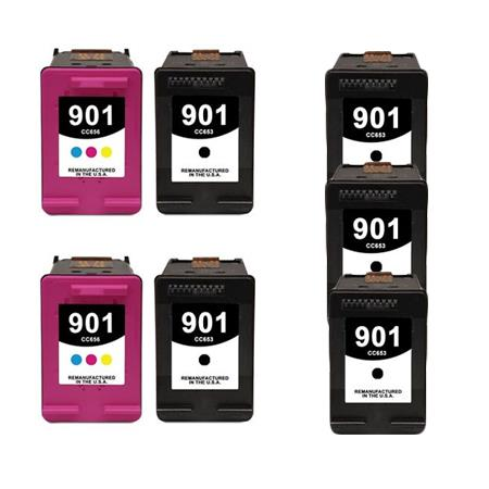 901 2 Full Sets + 3 EXTRA Black Remanufactured Inks